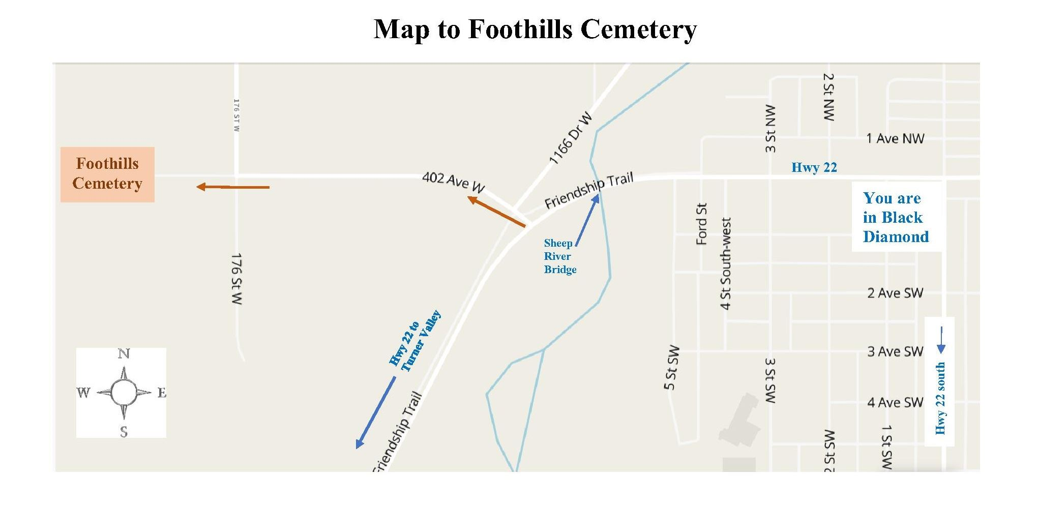 Map to Foothills Cemetery