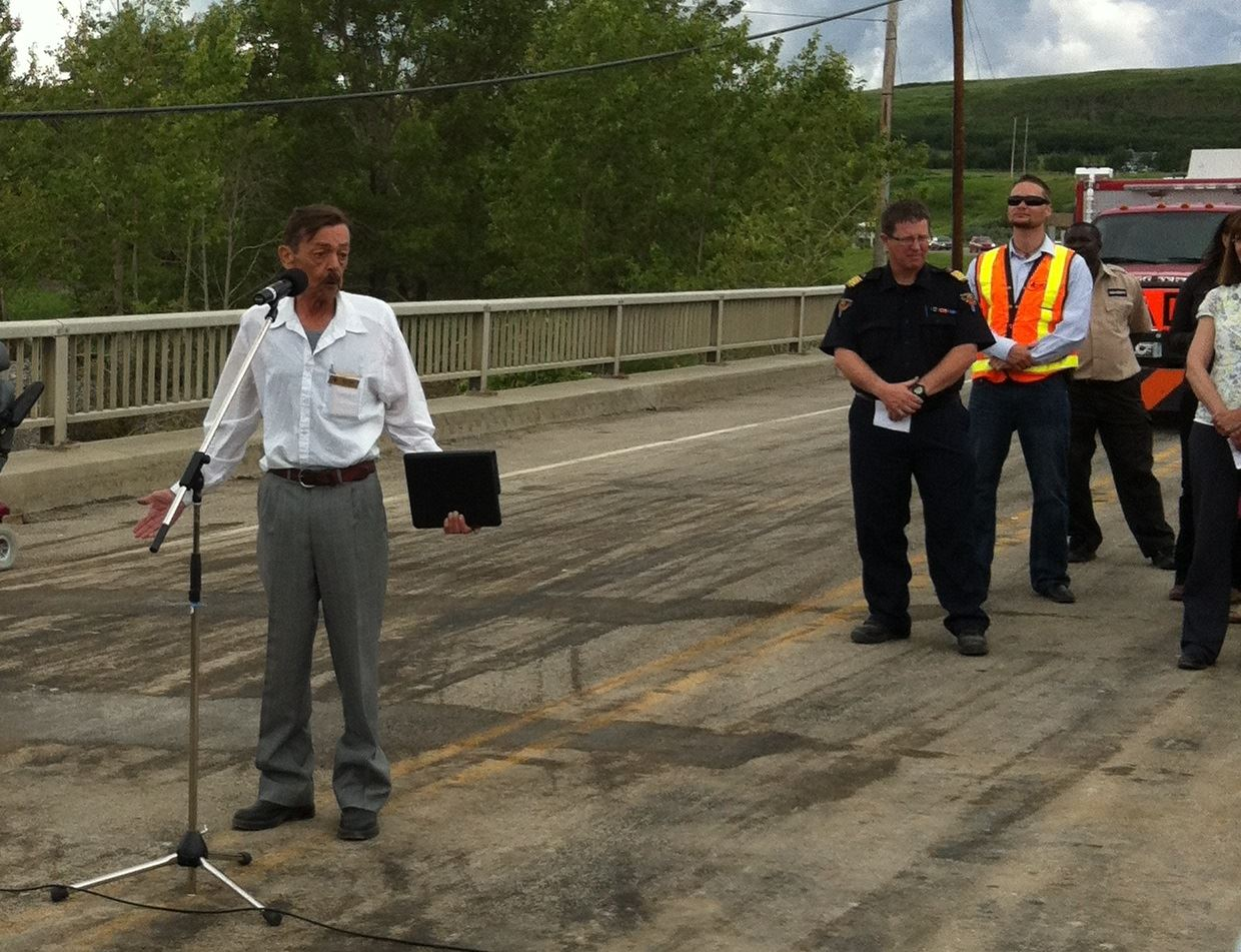 Councillor Mike Ross speaking at the Bridge Ceremony July 12, 2013